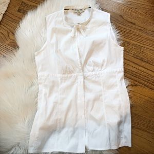 Burberry London White Button Front Sleeveless Top